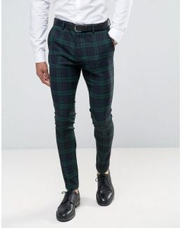 Super Skinny Suit Pants In Large Blackwatch Check