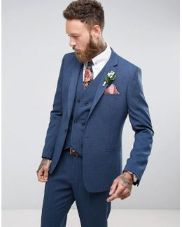 Wedding Slim Suit Jacket In Cross Hatch With Printed Lining