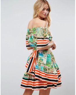 Off Shoulder Dress In Postcard And Stripe Print