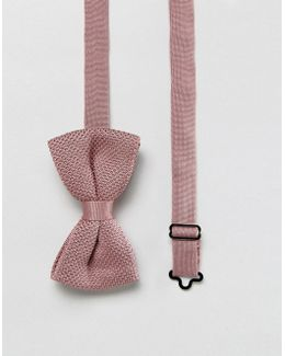 Knitted Bow Tie In Pink