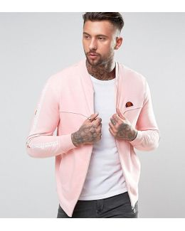 Jersey Bomber Jacket With Sleeve Print
