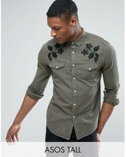 Tall Regular Fit Western Denim Shirt With Embroidery