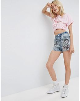 Denim Side Split Shorts In Mid Wash With Graffiti Print