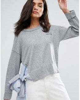 Boxy Sweater With Shirting Tie