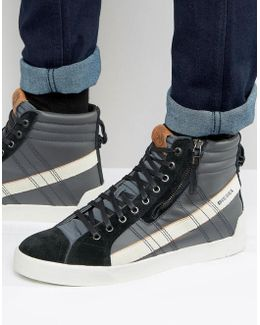 D-string Leather Sneakers