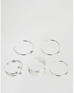 Pack Of 5 Minimal Toe Rings