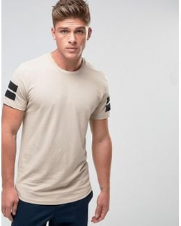 Core Longline T-shirt With Curved Hem And Arm Stripes