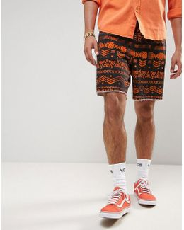 Festival Slim Elasticated Waist Shorts With Aztec Print
