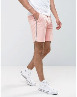 Slim Shorter Length Short With Tux Stripe In Pink