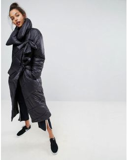 Longline Puffer Coat With Funnel Neck And Ties