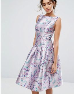 Pleated Midi Dress In Ditsy Floral Print