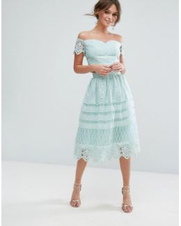 Midi Skirt In Paneled Lace