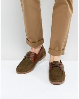 Boat Shoes In Khaki Suede With Gum Sole