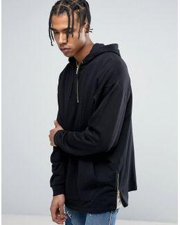 Oversized Longline Half Zip Hoodie With Side Zips