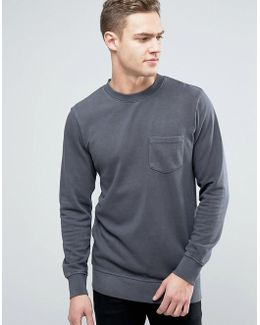 Originals Crew Neck Sweatshirt With Pocket In Washed Jersey