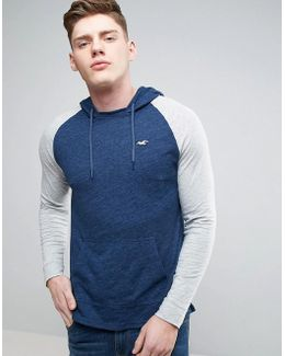 Lightweight Hoodie With Sleeve Stripe In Navy