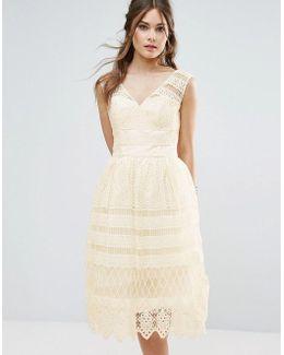 Midi Dress In Paneled Lace