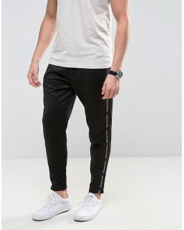 Tricot Slim Joggers With Side Logo In Black