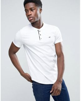 Slim Fit Henley T-shirt With Seagull Logo In White