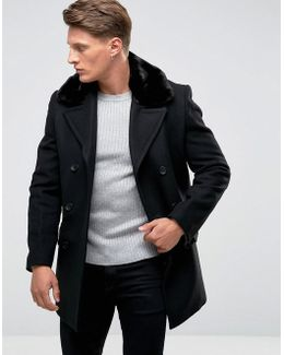 Double Breasted Wool Coat With Faux Fur Collar