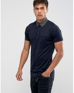 Polo Shirt With Contrast Woven Collar
