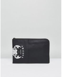Leather Clutch With Scorpion Design