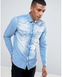 Slim Fit Blue Denim Shirt