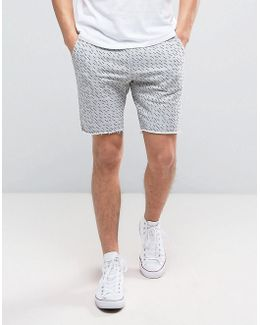 Line Print Sweat Short