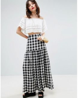 High Waisted Maxi Skirt In Gingham