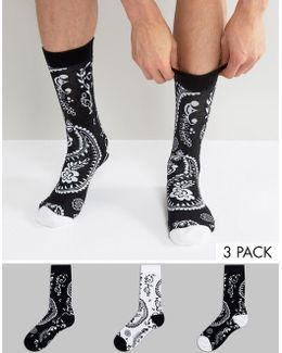 Socks With Monochrome Paisley Design 3 Pack