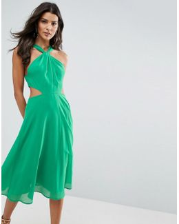 Side Cut Out Midi Dress With Twisted Neckline