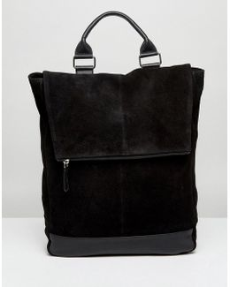 Backpack In Leather And Suede Mix In Black