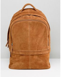 Backpack In Suede In Tan