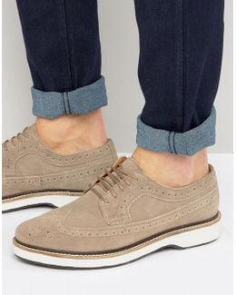 Brogues Shoes In Stone Suede With White Heavy Sole