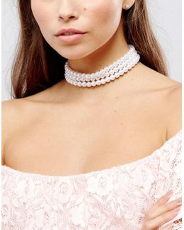 Chunky Faux Pearl Choker Necklace