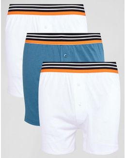 Jersey Boxer In White With Stripe Waistband 3 Pack Save