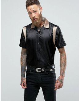 Oversized Sateen Bowling Shirt In Black