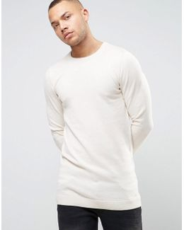Longline Muscle Fit Sweater In Oatmeal
