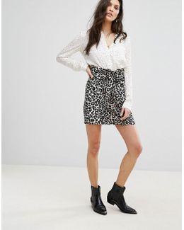 Leopard Print Tie Front Mini Skirt