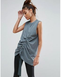 Sleeveless Oversized T-shirt With Drawstring Detail