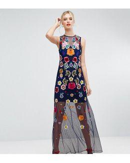 Embroidered Mesh Illusion Maxi Dress