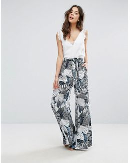 Lala Palm Print Flared Trousers