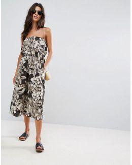 Bandeau Jumpsuit In Cotton In Hawaiian Print