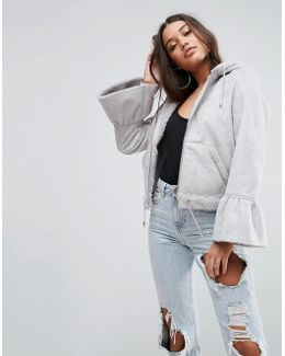 Cropped Jacket In Faux Leather With Flute Sleeve