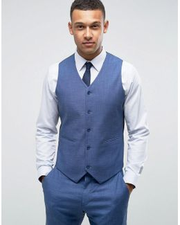 Wedding Slim Suit Vest In Blue Tonic