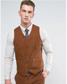 Wedding Skinny Waistcoat In Rust Tonic