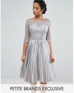 Allover Lace Top Prom Dress With Pleated Skirt
