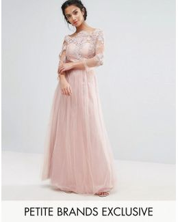 Allover Lace Top Maxi Dress With Tulle Skirt