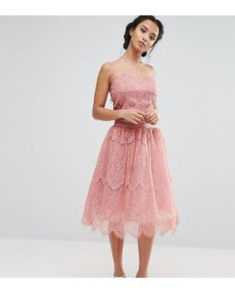 Allover Lace Tulle Full Prom Midi Skirt
