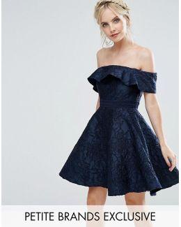 Textured Off Shoulder Mini Prom Skater Dress
